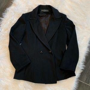 Black 100% wool pea coat
